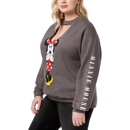 Disney Womens Plus Minnie Mouse Cut-Out Fleece Sweatshirt, Crew Gray (New Disney Kids Fleece)