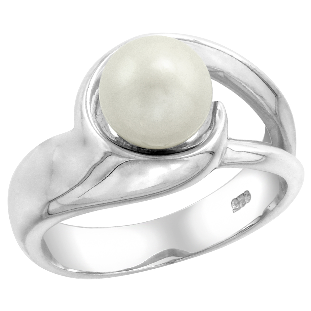 Sterling Silver Loop Pearl Ring 1/2 in. (12 mm) wide (Available in Sizes 5 to 10)