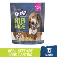 Purina Busy Small/Medium Breed Dog Rawhide Treat, Rib Hide, 12 ct. Pouch