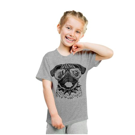 Dog Youth T-shirt (Youth Funny Pug Face T Shirt Hilarious Dog Cute Clever Hipster Tee For Kids )