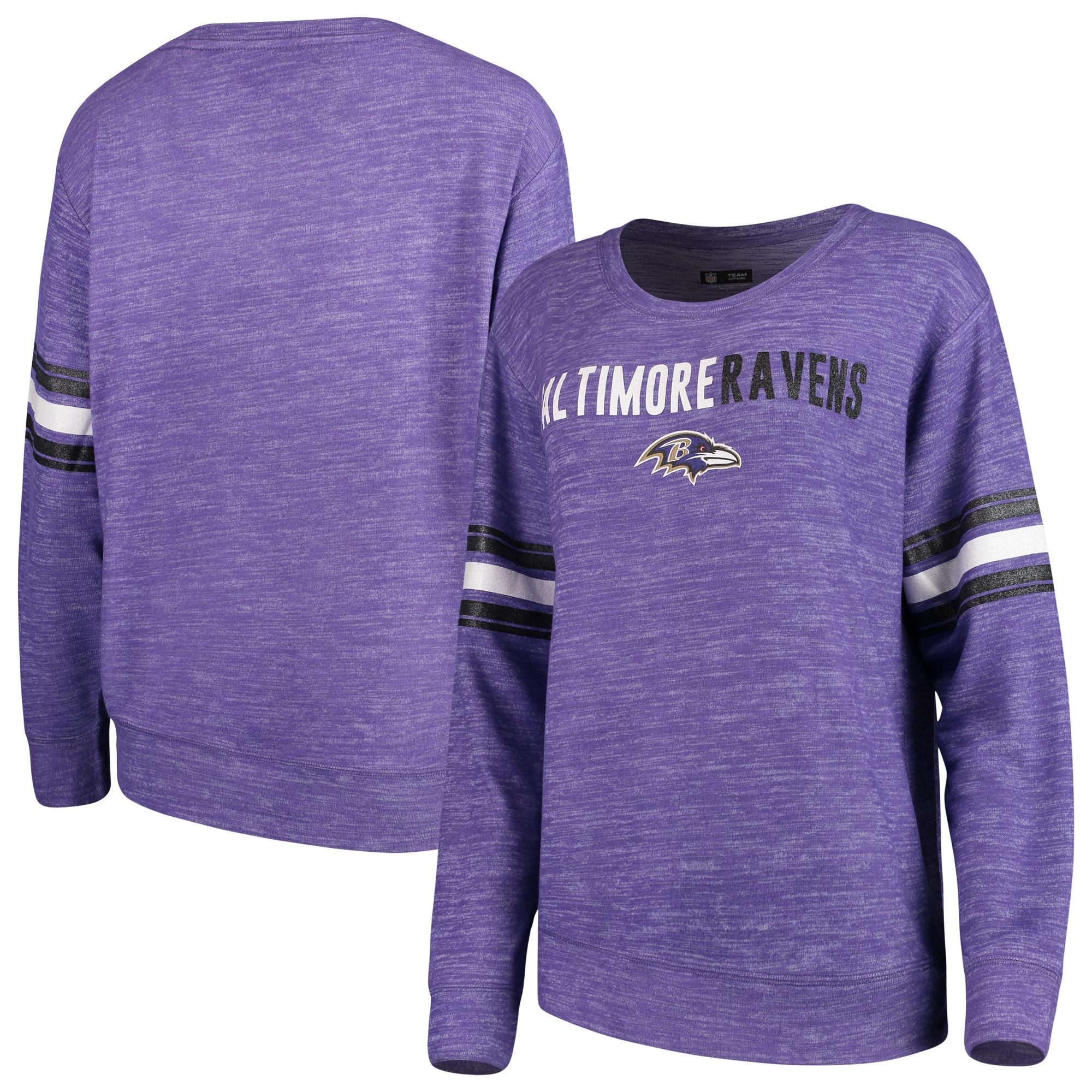 Baltimore Ravens New Era Women's Glitter Space Dye Crew Neck Tri-Blend Sweatshirt - Purple
