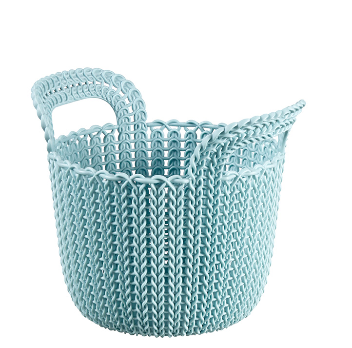 Curver by Keter Knit Style Round X-Small 3-Piece Nesting Storage Basket Set, Blue