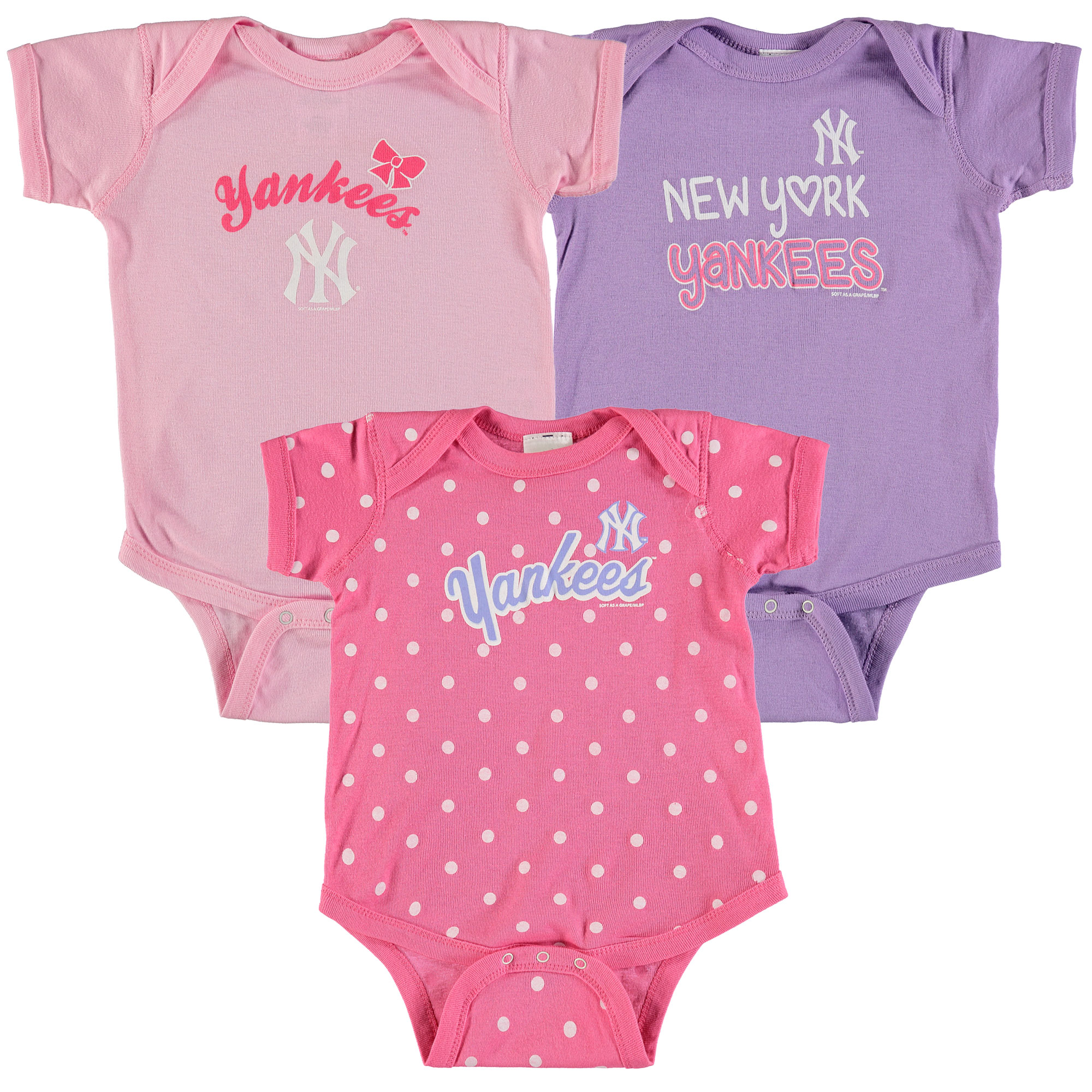 New York Yankees Soft as a Grape Girls Infant 3-Pack Rookie Bodysuit Set - Pink/Purple