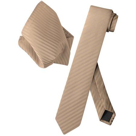 Light Brown Necktie - Vesuvio Napoli Skinny NeckTie Mocha Light Brown Stripes 2.5