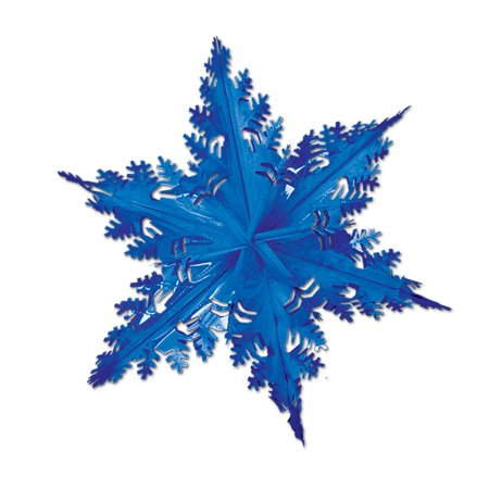 Club Pack of 12 Metallic Blue Winter Snowflake Hanging Christmas Decorations 24