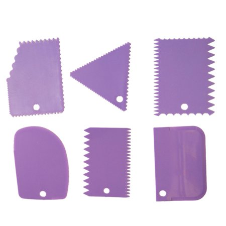 6 Pcs/Set Cake Scraper Edge Decorating Cutters Set Comb & Icing Smoother for Bread Dough Fondant Tool - Halloween Cake Decorating Ideas Simple