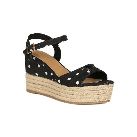 Band Platform Sandal (Women Bow Band Open Toe Espadrille Low Platform Wedge Sandal 18673 )