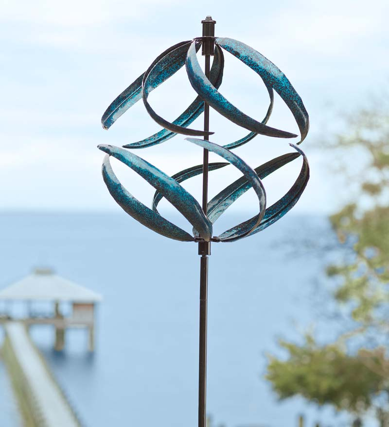 Metallic Blue Wind Spinner for Gardens by Problem Solvers