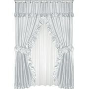 Royal Bath Lauren Double Swag Dobby Fabric Shower Curtain, 100% Polyester, Size 70X72, Color Grey