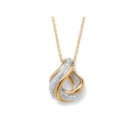 Diamond Accent Swirled Pendant Necklace in 18k Gold over Sterling (Stone Swirl Pendant)