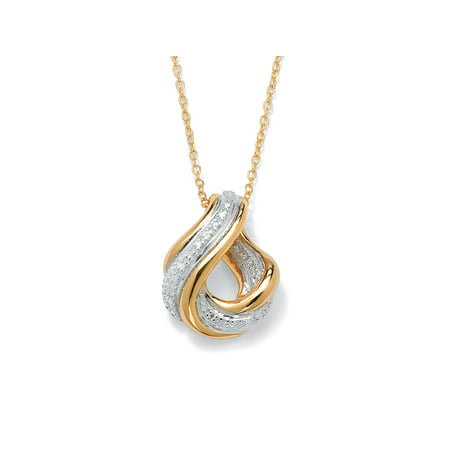 Diamond Accent Swirled Pendant Necklace in 18k Gold over Sterling Silver (White Sapphire Swirl Pendant)