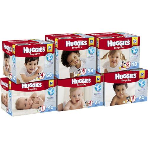 HUGGIES Snug & Dry Diapers Big Pack, (Choose Your Size)