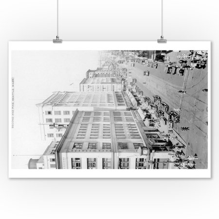 Seattle  Washington   Aerial View Of 2Nd And Pike Intersection  9X12 Art Print  Wall Decor Travel Poster