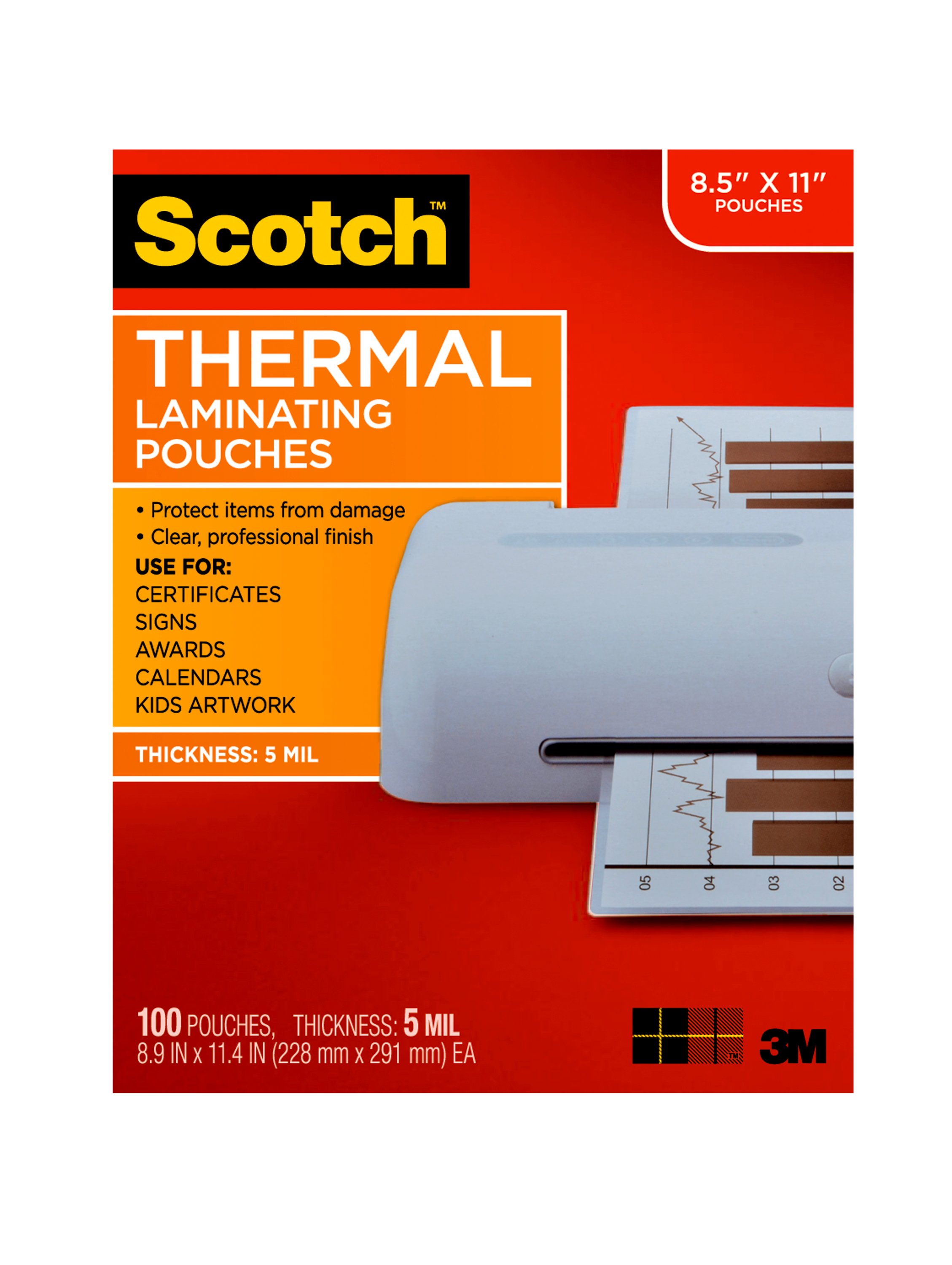 200 Pack SJPACK 5 Mil Clear Thermal Laminating Pouches,Plastic Paper Laminator Sheets,9 x 11.5 Inches