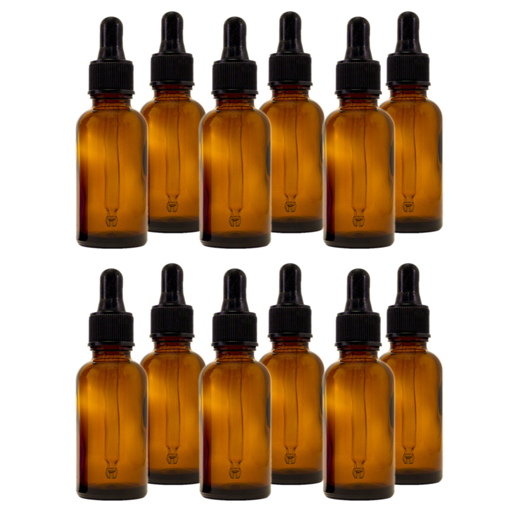 Amber Glass Bottle - 30 ml (1 fl oz) w/ Glass Dropper - Pack of 12