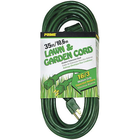 Prime Wire 35 Foot 16 3 Sjtw Lawn And Garden Outdoor Extension Cord  Green