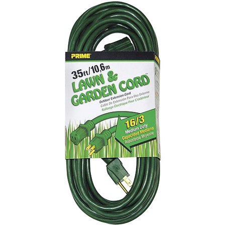 Prime Wire 35-Foot 16/3 SJTW Lawn and Garden Outdoor Extension Cord, Green
