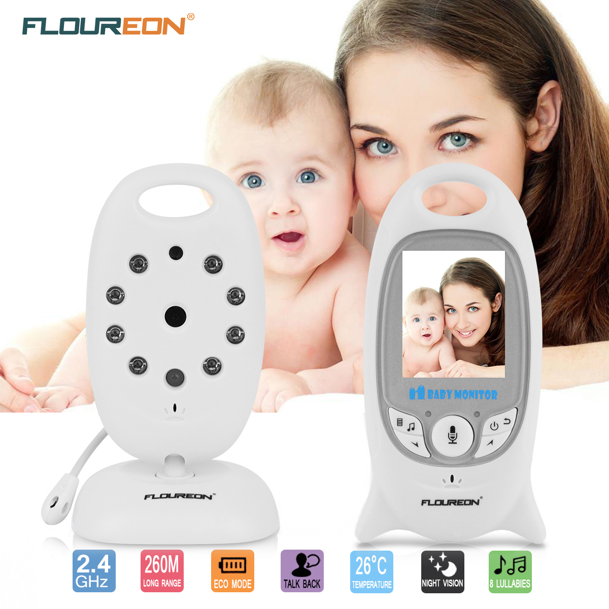 Baby Monitor, Wireless Video Digital Camera Infant Baby Monitor Night Vision Temperature Monitor