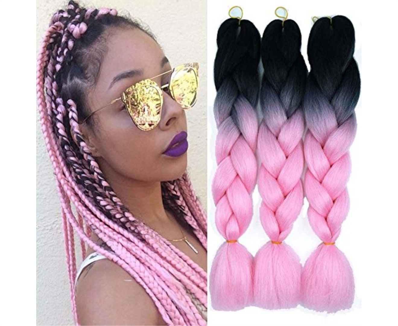 Ombre Color Synthetic Hair 3 packs Jumbo