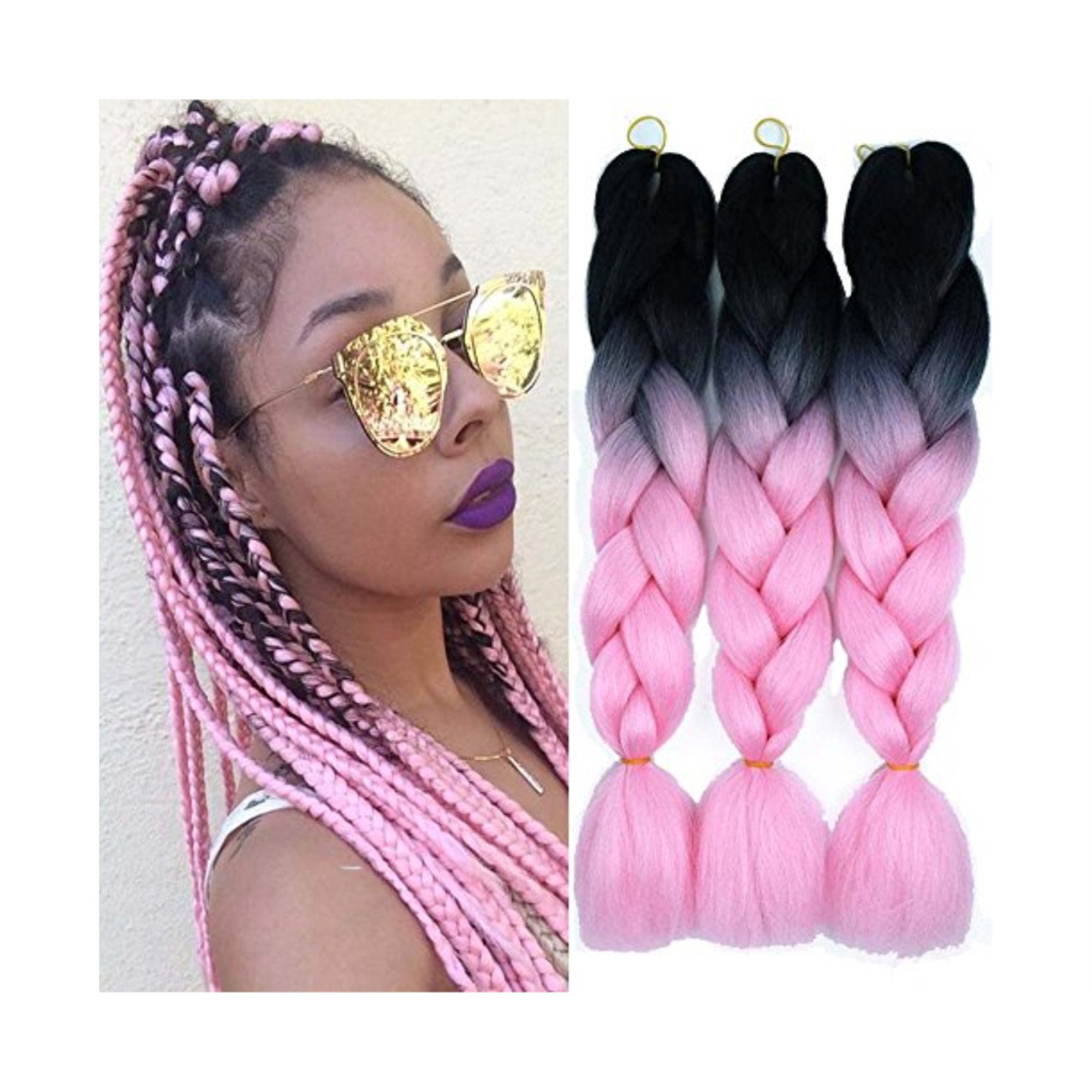 Ombre Color Synthetic Hair 3 Packs Jumbo Braiding Hair Extension