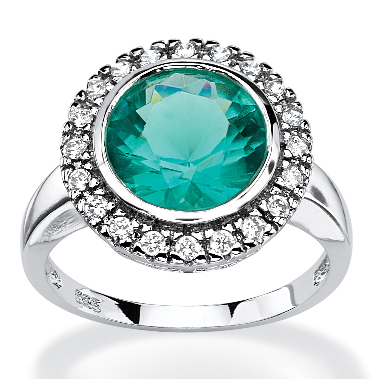 .30 TCW Round Aqua Simulated Spinel Halo Cocktail Ring in Rhodium-Plated Sterling Silver