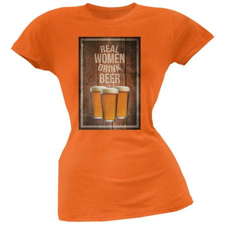 St. Patricks Day - Real Women Drink Beer Orange Soft Juniors T-Shirt