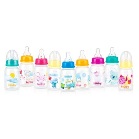 Baby Feeding - Nuby - 4oz Clear Printed Round Bottles (1 Only) Vary Color 1161