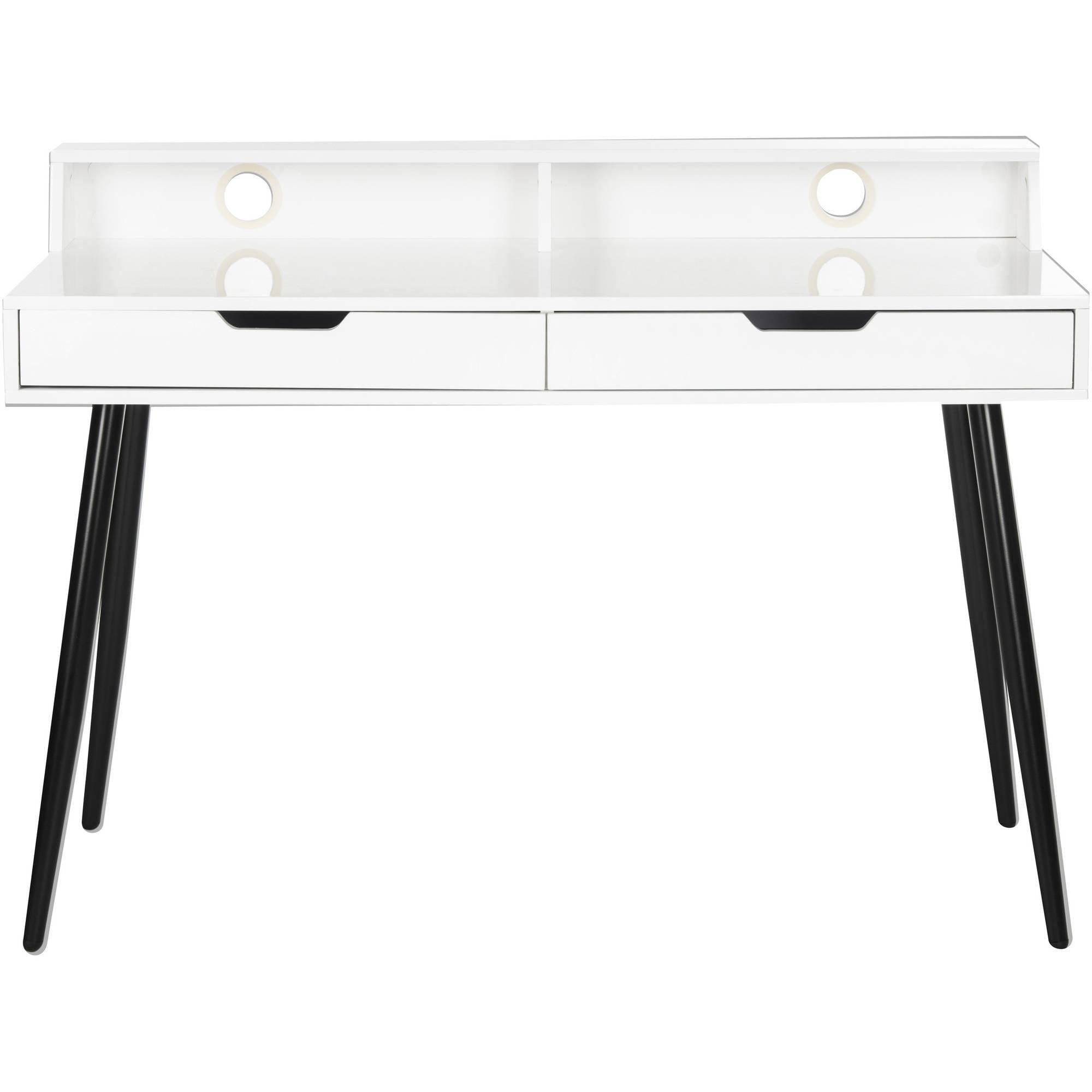 "Safavieh Cairo 47"" Width Mid Centry Retro 2-Drawer High Gloss Writing Desk, White by Safavieh"