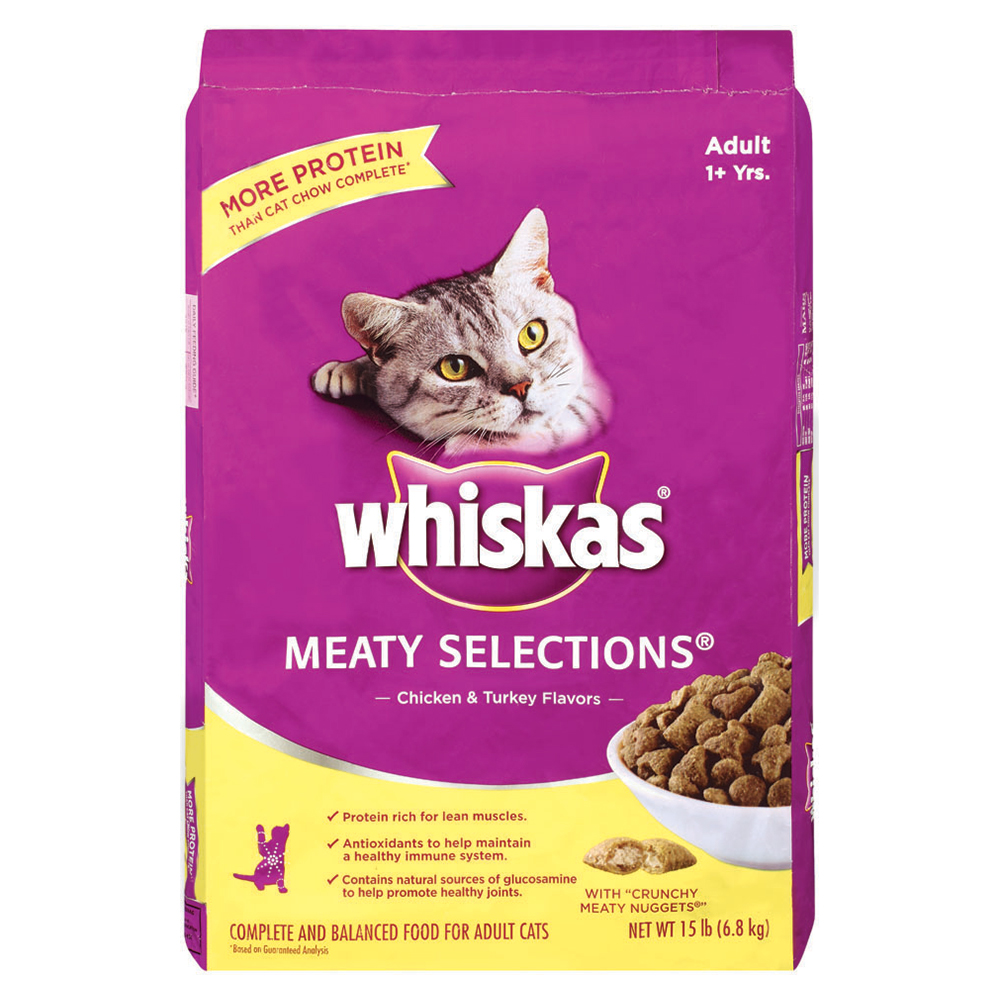 WHISKAS MEATY SELECTIONS Adult Chicken and Turkey Flavors Dry Cat Food 15 Pounds