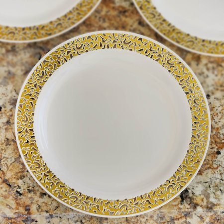 Efavormart 50 Pcs - Gold Trimmed  Round Disposable Plastic Plate Dinner Plates for Wedding Party Banquet - Picturesque Collection (Alphabet Party Plates)