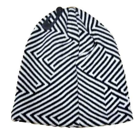 Igloos Mens Black White Striped Maze Beanie Stocking Cap Winter
