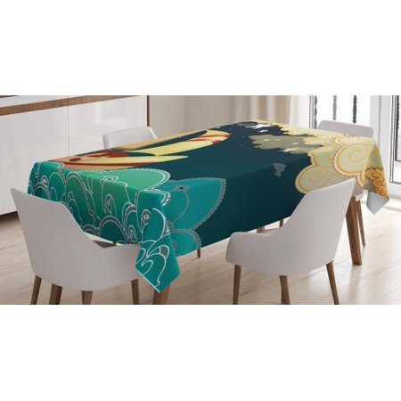 Ship Tablecloth, Kids Fairy Tale Fantasy Illustration Magical Night Time  Sailing Ship on Curly Waves, Rectangular Table Cover for Dining Room  Kitchen,