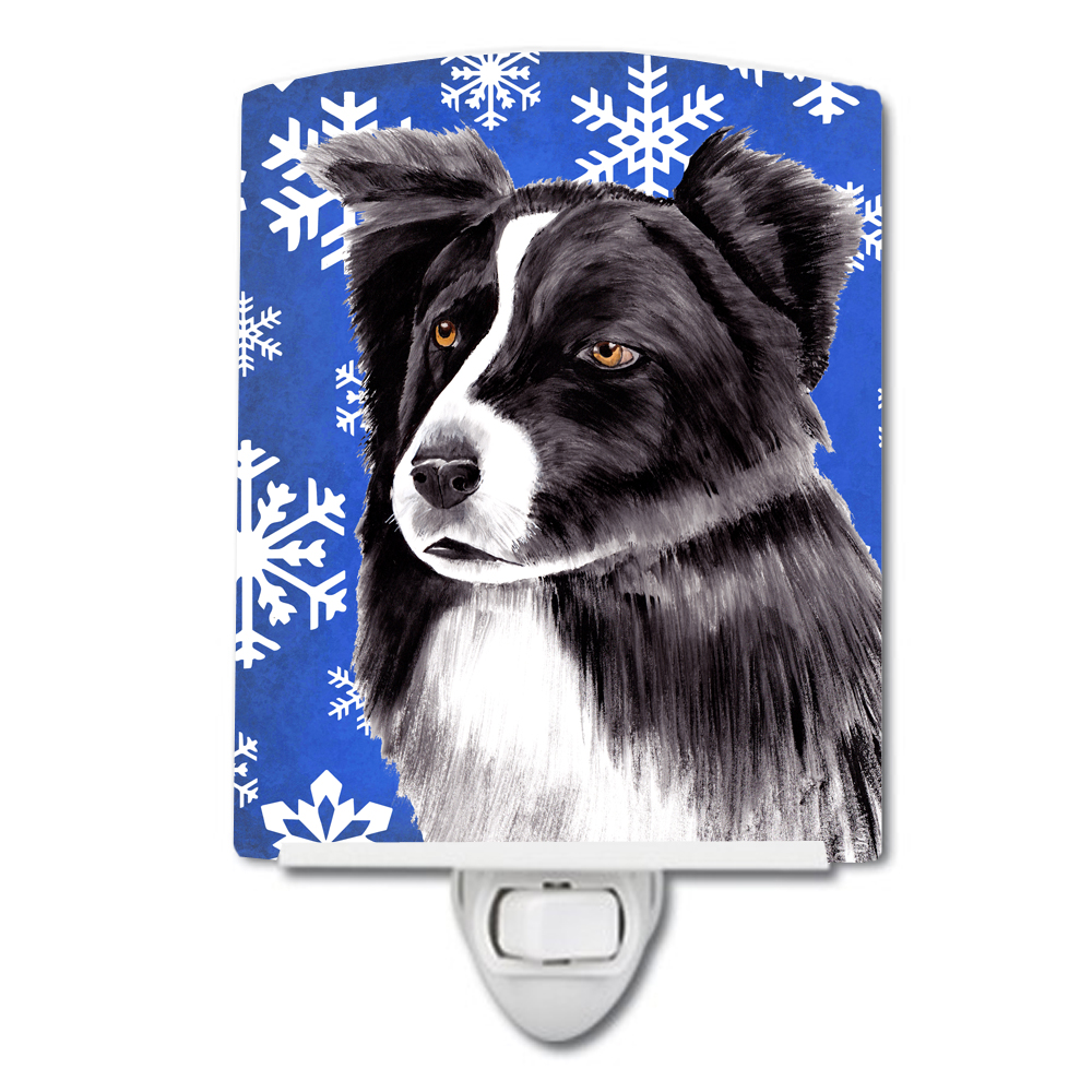 Border Collie Winter Snowflakes Holiday Ceramic Night Light SC9367CNL by Caroline's Treasures
