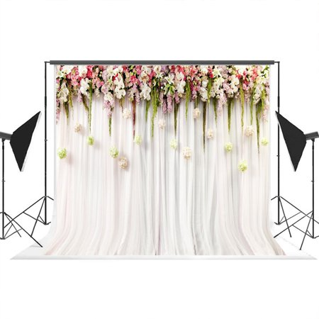 HelloDecor Polyster 7x5ft White Pink Lace Curtain Wedding Ceremony Printed Colorful Flowers Photography Backdrops and Photo Studio Background Props](Wedding Photo Backdrop)