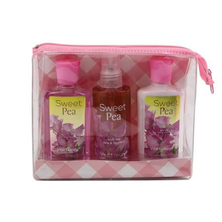Signature Sweet (VITAL LUXURY SIGNATURE - 3 Piece Travel Size Bath & Body Set - Sweet Pea)