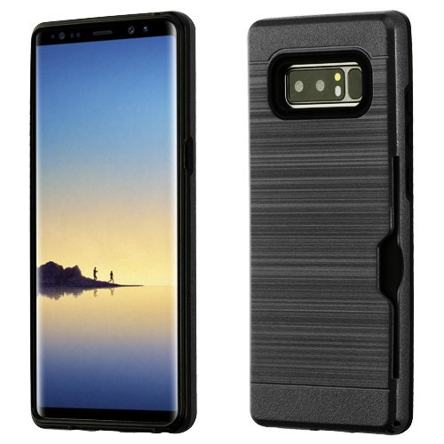 Valor Dual Layer [Shock Absorbing] Hybrid Brushed Hard Plastic/Soft TPU Rubber Case Cover For Samsung Galaxy Note 8, Black