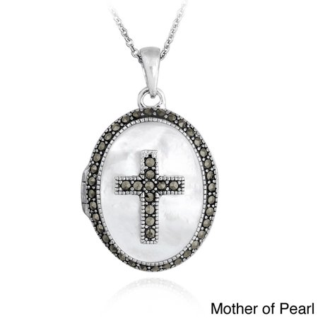 Sterling Silver Marcasite and Mother of Pearl Oval Cross Locket