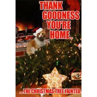 Tree Fainted Cat Funny Christmas Card - Greeting Card by Nobleworks
