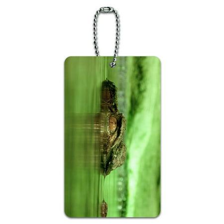 Crocodile Alligator Genuine Leather - Graphics and More Crocodile Alligator Swamp Reptile ID Card Luggage Tag