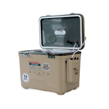 Engel 13 Quart Insulated Live Bait Fishing Dry Box Cooler With Water Pump,