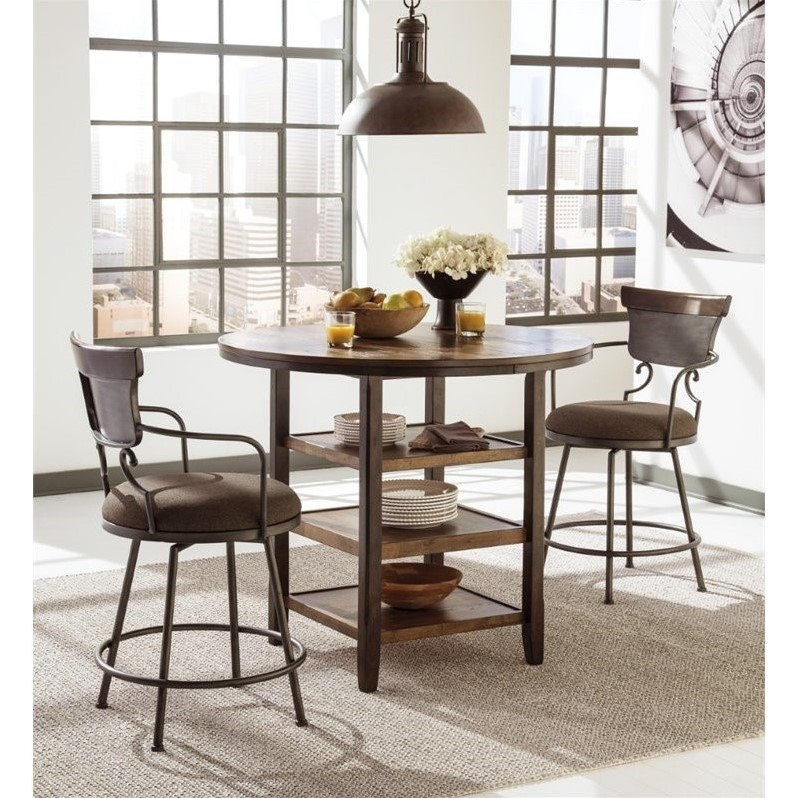 Attrayant Ashley Moriann 3 Piece Round Counter Height Dining Set