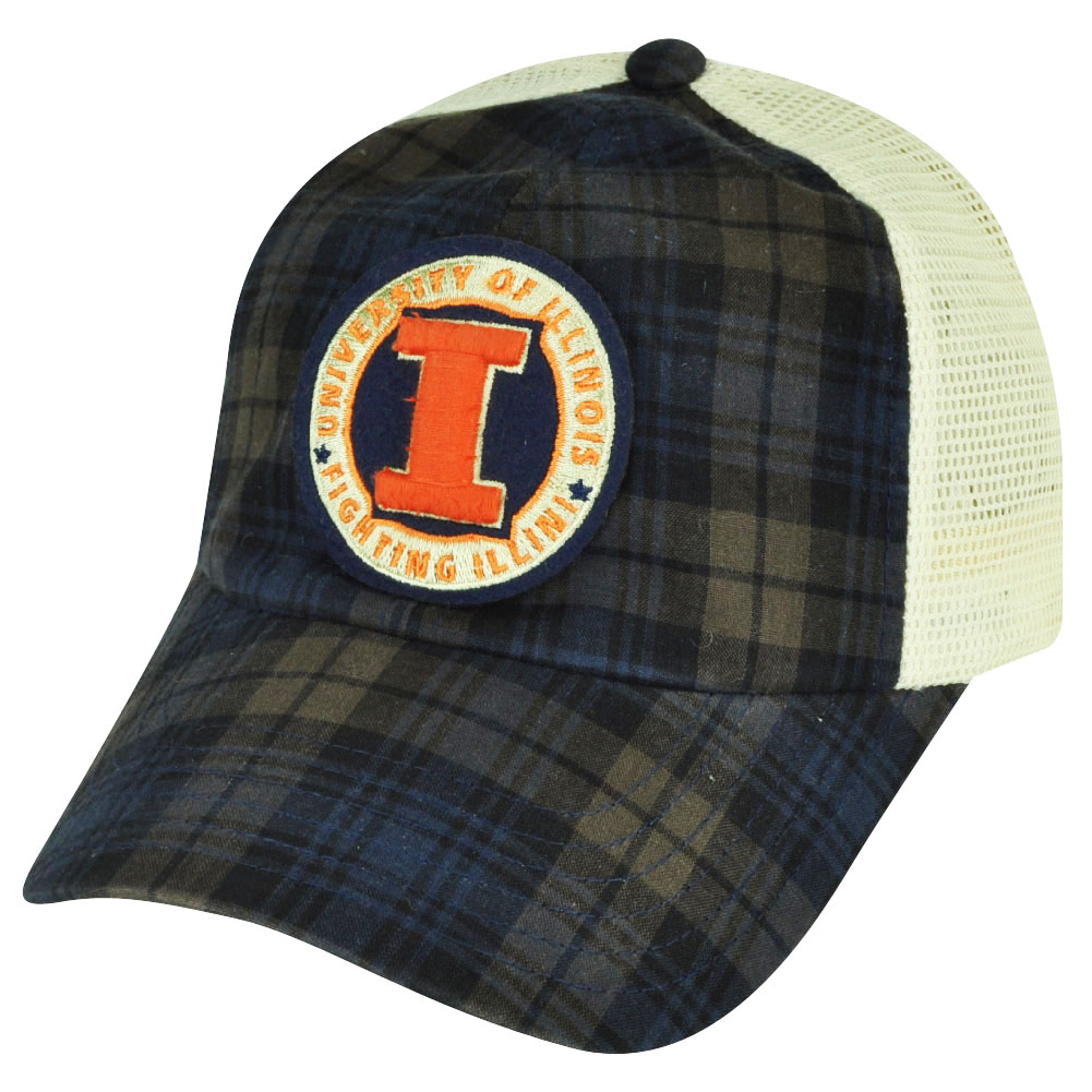 NCAA Illinois Fighting Illini Plaid Mesh Snapback Relax Hat Cap American Needle