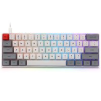 61-Key Type-C Wired Gaming Mechanical Keyboard with RGB Backlit / 60% Layout,  Waterproof NKRO Wired Keyboard for Mac Windows, Grey Case + Gateron Red Switch