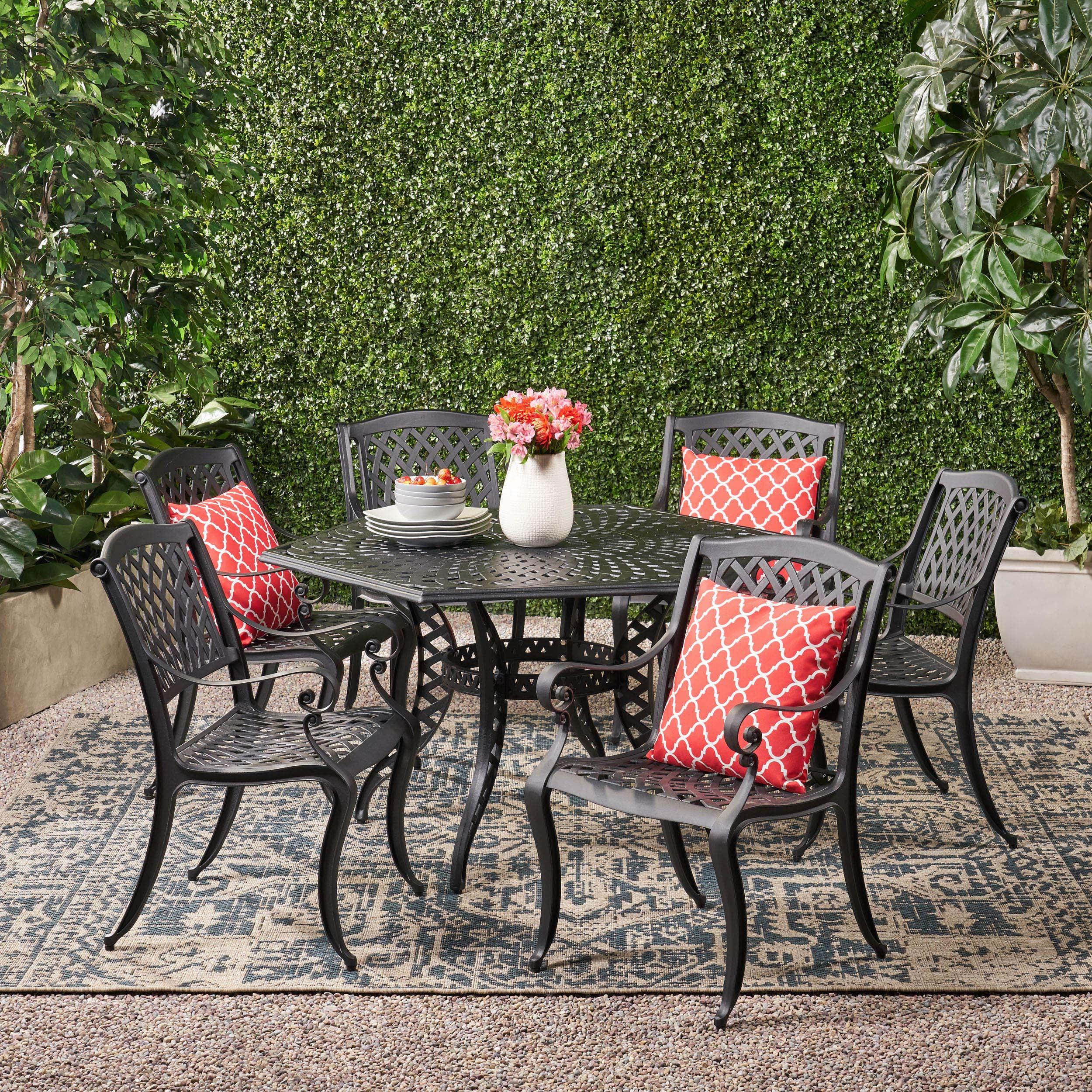 Holliday 10 piece Cast Aluminum Outdoor Dining Set, Black Sand   Walmart.com