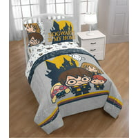 Harry Potter Hogwarts Icons Twin Bed in a Bag Bedding Set feat. Harry, Ron, Hermione, Luna & Hedwig