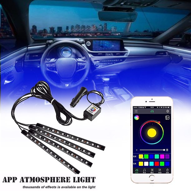 48 Led Car Interior Lights App Atmosphere Light Car Floor Atmosphere Glow Neon Lights Multi Color Car Led Strip Lights 12v 5050 Smd Tape Lights Decorative Lighting Kit Walmart Com Walmart Com