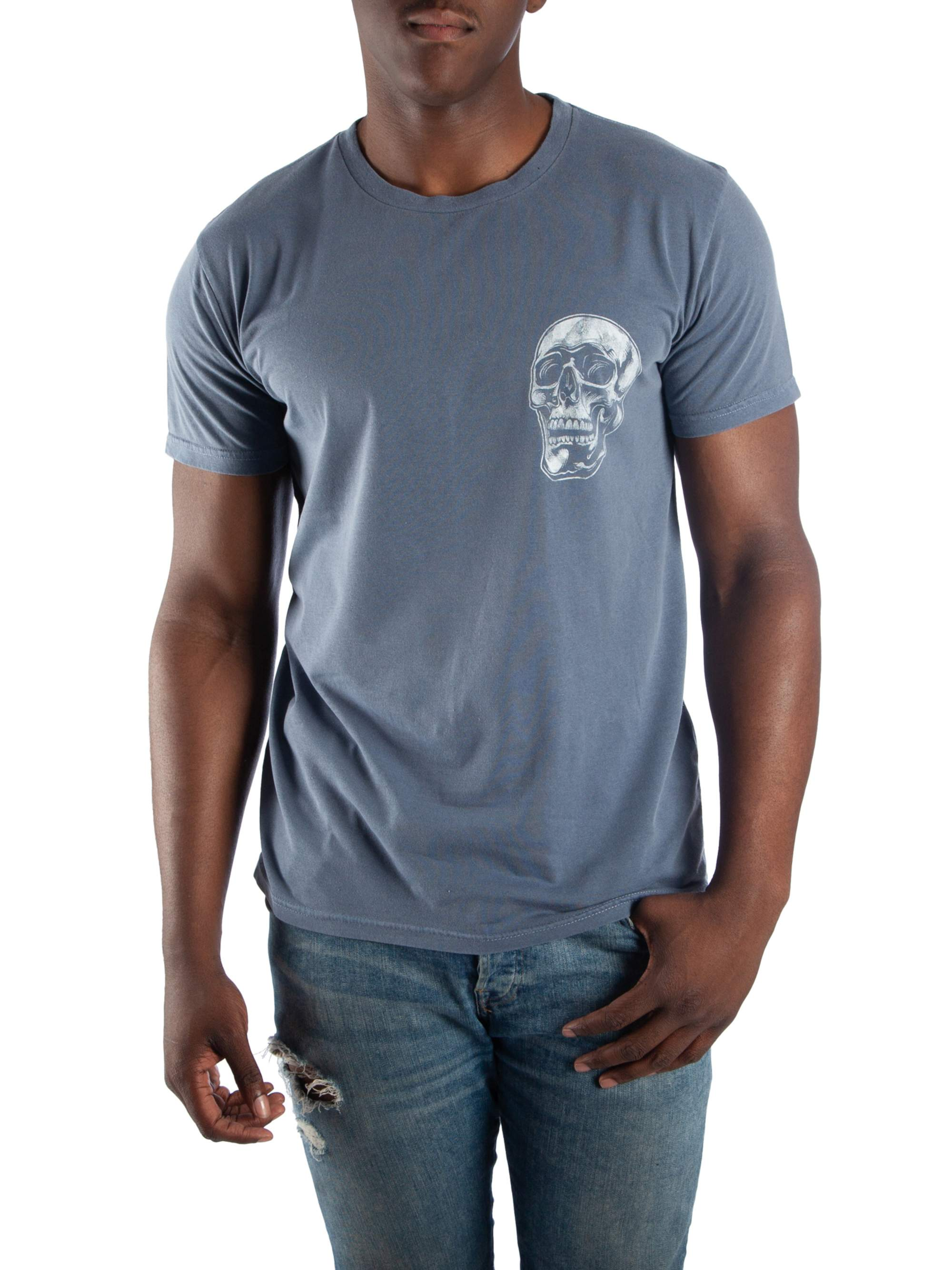 Men's Vintage Charcoal Propel Racing Skull with Distressed Front and Back Print