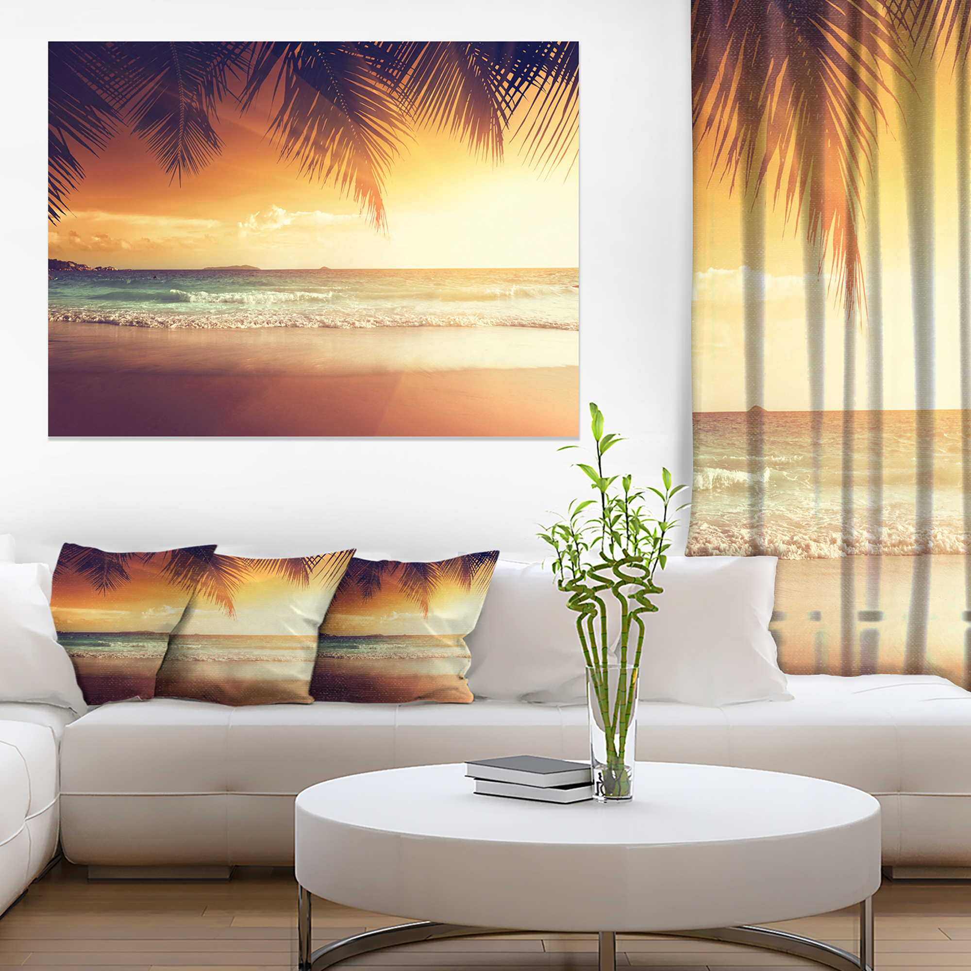 Design Art - Palm Leaves on Caribbean Seashore - image 3 of 3
