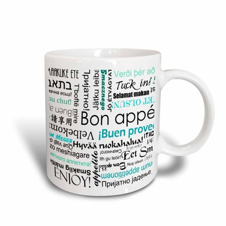 3dRose Teal Turquoise Blue Bon Appetit Kitchen Art Typography - Enjoy Your Food in different languages - Ceramic Mug, 11-ounce