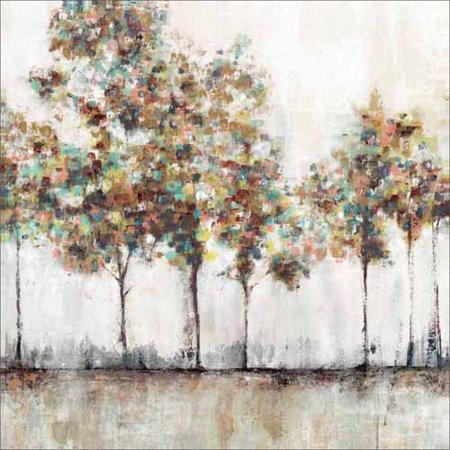 Texture Square Abstract Tree Landscape Contemporary Modern Trendy Painting Tan & Blue Canvas Art by Pied Piper Creative